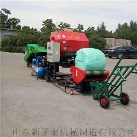 甘肃养殖饲料包裹机 自动夹膜断膜青贮打包机