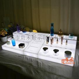 化妆品展示架彩妆摆放台护肤品小展台发光展架