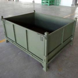 折叠式钢板箱 金属周转箱 金属箱折叠式仓储笼