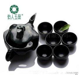天然玉石 墨绿玉茶具茶壶 6只杯子 活磁黑绿玉净化保健茶具酒具