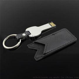 皮质钥匙USB随身碟,个性化优盘定制,皮优盘,创意礼品优盘批发生产,深圳u盘厂家