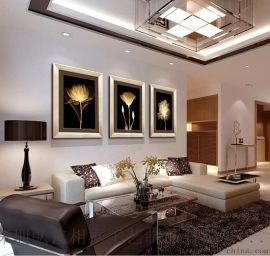 玄关餐厅装饰画客厅现代三联有框画沙发背景挂画墙画壁画金色年华