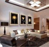 玄關餐廳裝飾畫客廳現代三聯有框畫沙發背景掛畫牆畫壁畫金色年華