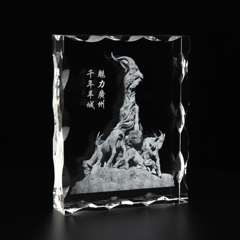 广州五羊水晶內雕纪念品 旅游纪念工艺礼品