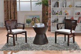 藤格格 9924 厂家批发实木餐桌藤木椅中式休闲餐桌套装江西酒店藤椅