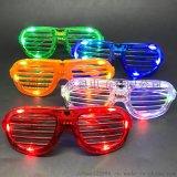 新款百葉窗led發光眼鏡助威道具搞怪整蠱閃光眼鏡
