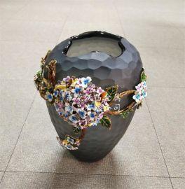 家居创意花瓶摆件  欧式珐琅彩精品陶瓷工艺品摆件