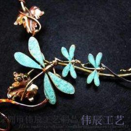 金属滴油胸花,水钻蜻蜓胸针,复古金属镶钻别针