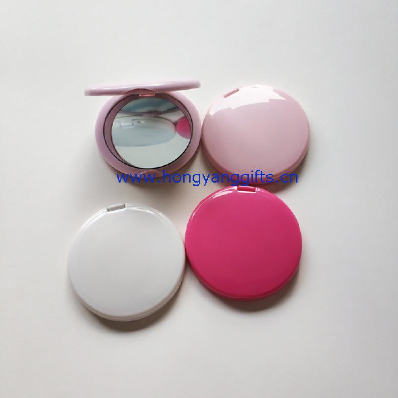 便攜雙面口袋鏡  圓形塑料小鏡子 圓形雙面摺疊鏡