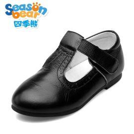 四季熊白色儿童皮鞋黑色小童公主鞋真皮软底学生单鞋**演出皮鞋