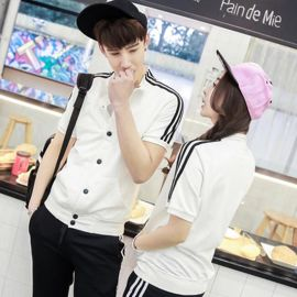 男女夏季短袖立领薄卫衣外套韩版情侣装学生班服聚会服装印制LOGO
