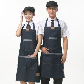 男女服務員牛仔布圍裙廚師工作服韓版時尚咖啡奶茶店工作圍裙定制