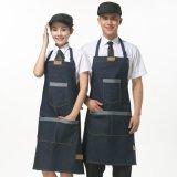 男女服務員牛仔布圍裙廚師工作服韓版時尚咖啡奶茶店工作圍裙定製