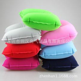 专业生产pvc充气植绒枕头u型护颈枕 旅行航空枕 便携式旅游三宝