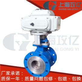 ZKRV电动V型调节球阀 DN100电动V型球阀 铸钢 不锈钢 蒸汽 温度 导热油 电压AC220V