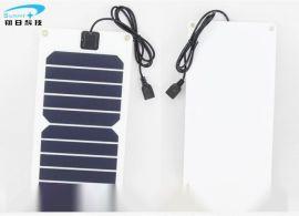 深圳厂家供应柔性单晶硅太阳能电池板组件5V5W户外登山骑行手机充电宝USB小风扇供电设备