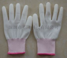 尼龙PU涂指手套 白色涂层防静电无尘胶劳保男女手套批发