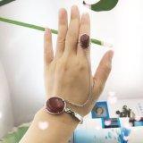 茂鑫銀飾S925純銀鑲紅瑪瑙手鐲戒指套裝 歐美新款首飾廠家