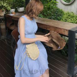 E15北京服装尾货批发基地折扣女装 北京尾货羽绒服批发浅蓝色休闲套装