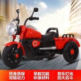 新款儿童电动摩托车宝宝三轮车音乐电瓶车一件代发