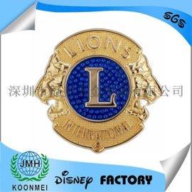 厂家定制金属狮子会徽章狮子会胸徽狮子会胸章车标车牌钥匙扣