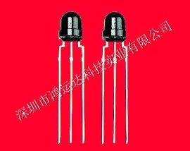 深圳厂家生产红外线遥控接收头|ф5MM草帽小型顶部接收头HYD0038M