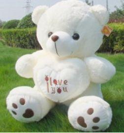廠家來圖來樣生產泰迪熊公仔 白色PV絨抱心熊