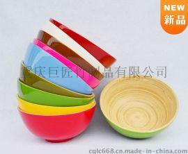 厂家最新定制天然手工彩色欧式竹碗沙拉水果碗盘