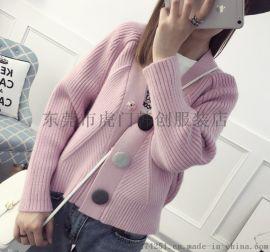便宜毛衣韩版时尚女士羊毛衫针织开衫库存服装