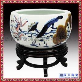 景德镇陶瓷青花瓷龙鱼缸聚宝盆 水浅睡莲水仙荷花盆摆件