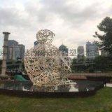 武汉大型不锈钢人物镂空雕塑