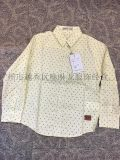 男女童裝時尚印花長袖捲袖低彈力襯衫