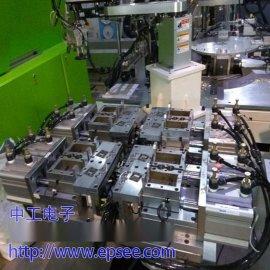 注塑机加工产品,上料,裁切,插针,拨模,取出,长度检测,位置检测,角度检测,自动传输,自动包装。