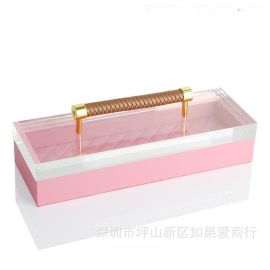 粉红色正长方形超纤皮亚克力合金首饰盒饰品欧式创意客厅卧室摆件