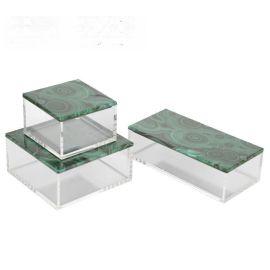 孔雀石钢琴烤漆亚克力首饰盒简约收纳盒软装饰品样板间饰品摆件