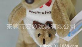 毛绒仿真袋鼠 澳大利亚母子口袋鼠毛绒填充玩具 儿童玩具澳洲袋