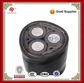 浩华牌 宏亮电缆 15kV 35kV YJLV22 3*300mm2 铜芯钢带铠装电力电缆