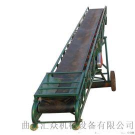袋装钢砂装车皮带输送机 0.5米带宽货物爬坡输送机
