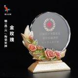金玫瑰奖牌 沙金镀金制作奖牌 水晶太阳花奖牌定制