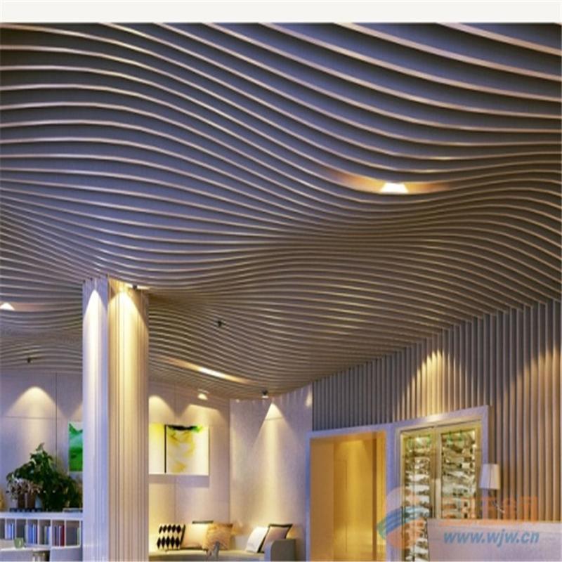 订制墙面造型木纹铝方通铝单板波浪天花 墙体装饰铝单板焊接造型