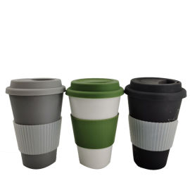 带硅胶盖防烫圈竹纤维咖啡杯