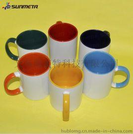 热转印口把彩杯 热转印陶瓷杯子批发 11oz涂层杯子定制 质量好