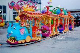 广场大型儿童游乐设备/豪华轨道小火车/轨道双电瓶电柜火车摇摇车
