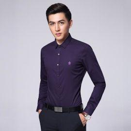 新款韩版修身长袖衬衫男式职业衬衣时尚紫色男装
