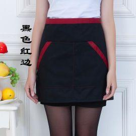 餐饮酒店服务员短款小围裙咖啡色自助餐厅服务围裙男女小半身围裙