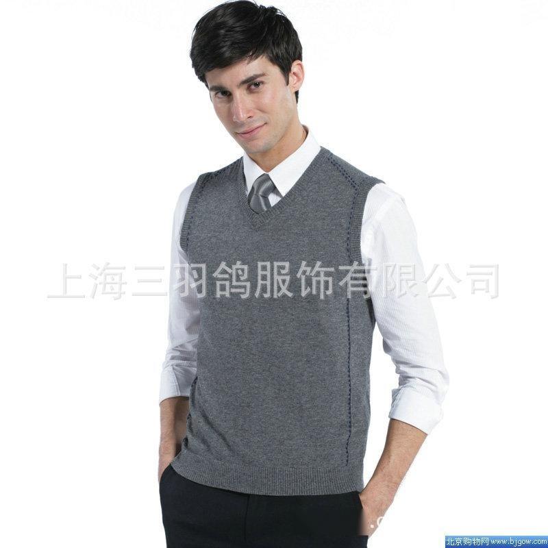 春秋新款 V领羊毛背心男装时尚韩版修身羊毛衫工作服厂家