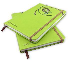佳佳文具 绿色**仿皮笔记本厂家定制 带橡皮筋固定精美pu记事本