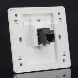 86型单口六类网络直插面板 6类电脑网线网口插座 含CAT6直通模块
