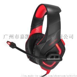 電腦頭戴式耳機發光led遊戲耳機