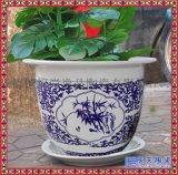 景德镇陶瓷圆形花盆带底盘景观盆多规格大号种树盆